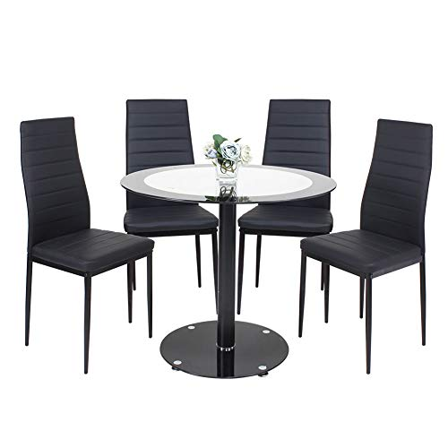 STREAM Esstisch mit 4 Stühlen, modern, runder Glas-Tisch für Küche, Esszimmer, Kaffee, Freizeit, Tisch 5 Stück Schwarz (Kaffee Stühlen Runder Mit Tisch)