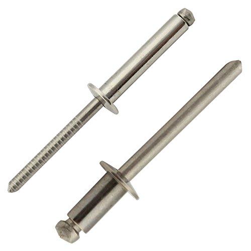 Blindnieten mit Flachkopf - 4x20 mm - (40 Stück) - DIN 7337 Form A - Popnieten - Edelstahl A2 (V2A) - SC7337 | SC-Normteile