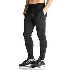 Idea Regalo - Broki - Pantaloni da jogging da uomo, con cerniera, stile casual, per palestra, fitness, vestibilità aderente, colore: nero Nero M
