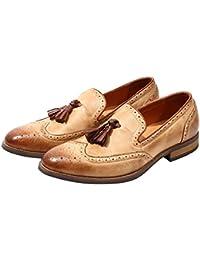 LEFT&RIGHT Mocasines para Hombres Zapatos De Vestir Planos De Cuero, Derby Vintage Pulido Skinhead Todos
