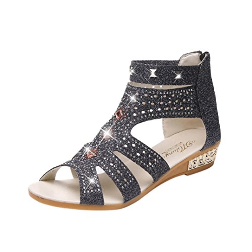 Große Förderung SANFASHION Sommer Damen Frauen Keil Sandalen Mode Fisch Mund Hohl Roma Schuhe