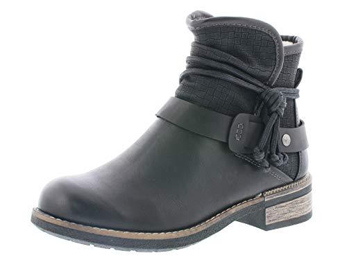 Rieker Damen Biker Boots 94689,Frauen Stiefel,Stiefelette,Halbstiefel,Bikerstiefelette,Bootie,flach,Blockabsatz 3.5cm,schwarz/schwarz, EU 38
