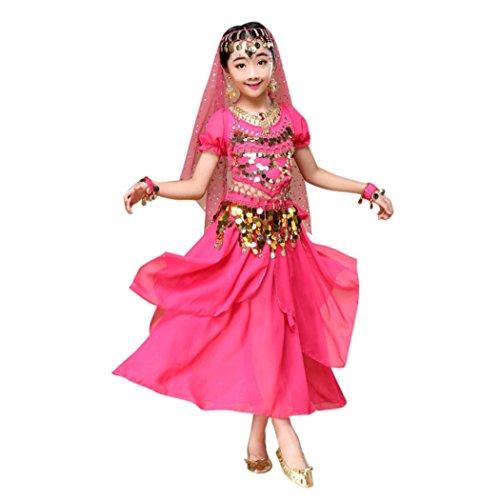 Neckholder Bauchtanz-outfit (Hunpta Kinder Mädchen Bauchtanz Outfit Kostüm Indien Dance Kleidung Top + Rock (120~135cm, Hot Pink))
