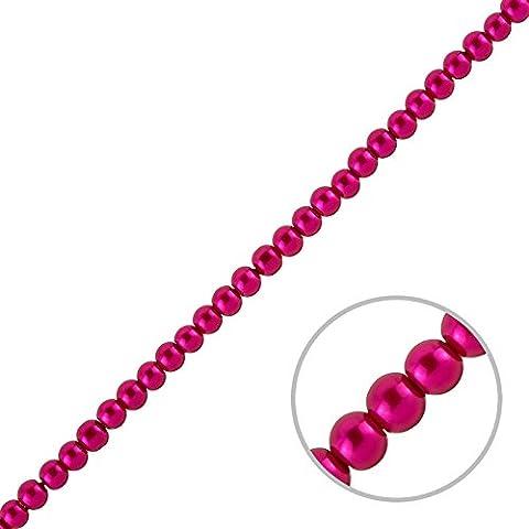 En Verre 4mm Perles Rond–(Rose foncé sur 40,6cm brins)