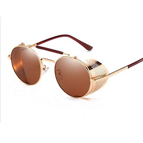 FGRYGF-eyewear2 Sport-Sonnenbrillen, Vintage Sonnenbrillen, Retro Round Steampunk Sunglasses Men Women Side Shield Goggles Metal Frame Gothic Mirror Lens Sun Glasses