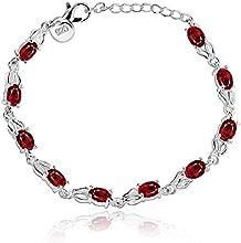 fashion 925 de plata de ley retro cadena de joyería pulsera de cristal de lady