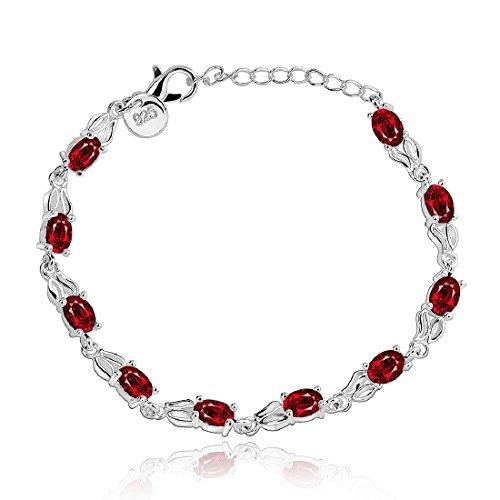 joyliveCY-Moda 925 de plata de ley retro cadena de joyeršªa pulsera de cristal de mujeres