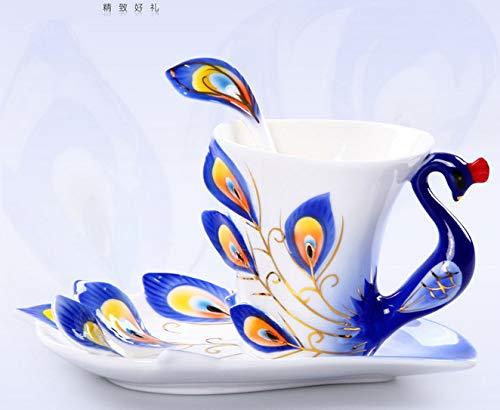 GXFLO Sammlerstücke Fine Arts China Porzellan Teetasse Und Untertasse Kaffeetasse Pfau Thema Romantische Kreative Geschenk Für Hochzeit/Weihnachten DREI Sätze,Blue
