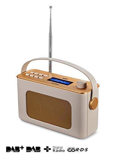 UEME Retro Digitalradio mit Bluetooth, DAB+ DAB UKW Radio, Radiowecker, und Leder Verkleiden (Crème) -