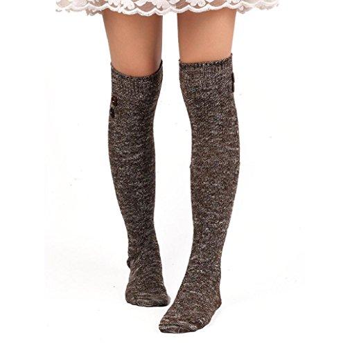 Socken Rosennie Damen Zu Ende Knie Hoch Socke Baumwolle (Kaffee) (Aus Gestreifte Bio-baumwolle Socken)
