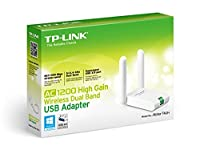 TP-LINK Archer T4UH AC1200 USB Wi-Fi Dongle, High Gain Wireless Adapter for PC, Desktop, Laptop and Tablet, Dual Band 2.4 GHz/300 Mbps or 5 GHz/867 Mbps, White