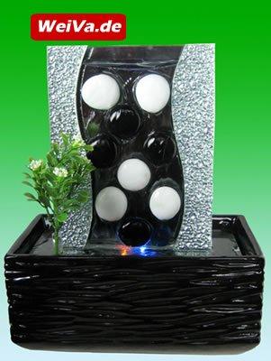 Feng Shui Keramik Glas Zimmerbrunnen mit LED Beleuchtung LR39512
