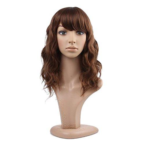 MelodySusie peluca de mujer de longitud media para fiesta Cosplay 43 cm, marrón oscura