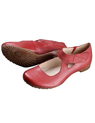 Youlee Donna Primavera Gomma Suola Pelle Scarpe Rosso