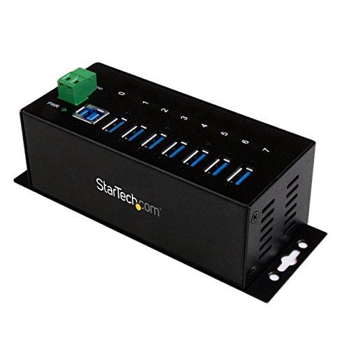 StarTech.com Industrieller 7 Port USB 3.0 Hub mit Überspannungsschutz (USB Hub zur Klemmleisten / DIN-Schienen Montage) (Hub Usb 3 Startech)