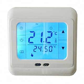 Aubig Digital Weekly Programmable Touchscreen Thermostat Underfloor Floor Heating Room Thermostat LCD Blue Backlight for Electric Heating System 16A