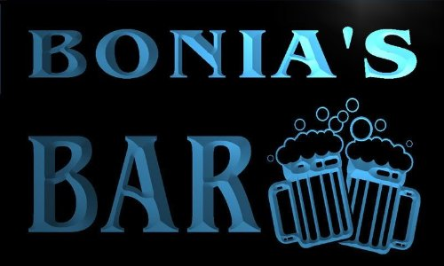 w084344-b-bonia-name-home-bar-pub-beer-mugs-cheers-neon-light-sign