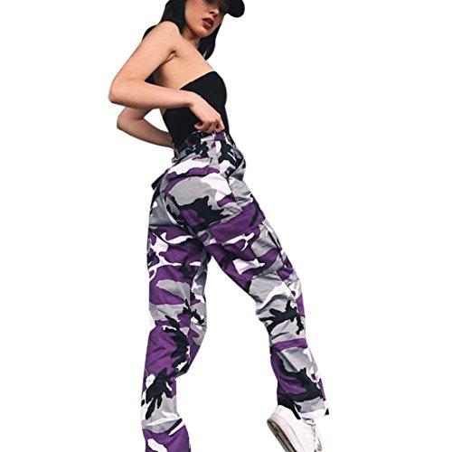Hosen, Frashing Frauen Sport Camo Cargo Hosen Outdoor Casual Camouflage Hosen Jeans Camouflage bedruckte Jeans Haremshose (L, Lila)
