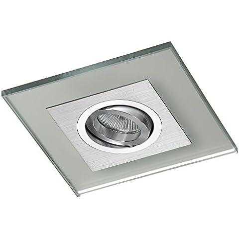 CristalRecord Class - Foco empotrable, aluminio, basculante 30, cristal decorativo plateado