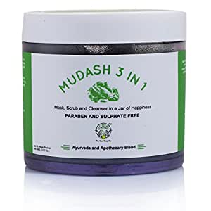 Greenberry Organic's MUDASH 3 In 1 Face Mask, Scrub and Cleanser With Activated Charcoal, Tea Tree, Jojoba, Clove Oil & Bentonite, Kaolin Clay (Paraben, Sulphate & Phthalate FREE) 100 GMS