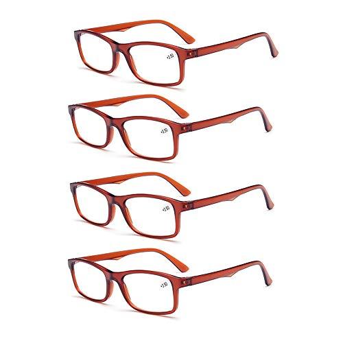 Faltbare Klassische Lesebrille Leichte komfortable Lesebrille Brille für Damen und Herren, 4 Stück (braun),+3.00