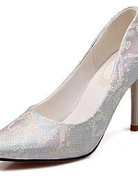 ZQ 2016 Zapatos de mujer - Tacón Bajo - Comfort / Punta Redonda - Oxfords - Casual - Semicuero - Azul / Rosa / Plata / Beige , silver-us5 / eu35 / uk3 / cn34 , silver-us5 / eu35 / uk3 / cn34