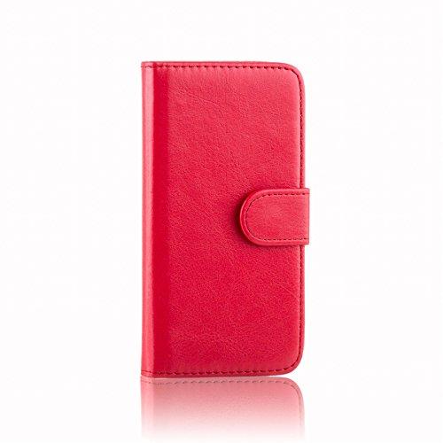 32nd PU Leder Mappen Hülle Flip Case Cover für Alcatel Pixi 4 (4.0), Ledertasche hüllen mit Magnetverschluss und Kartensteckplatz - Rot