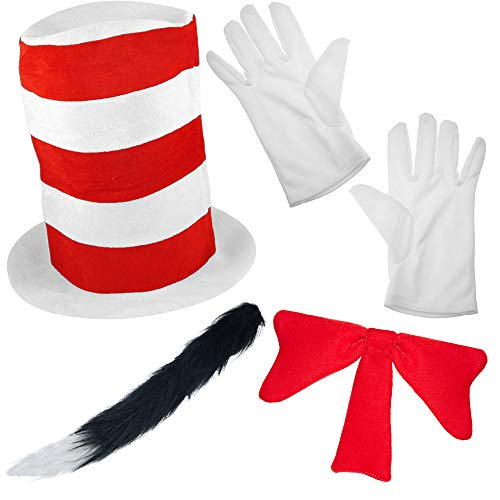 German Trendseller® Der Kater mit Hut - Premium - Kostüm Set -┃ Hut + Schleife + Handschuhe + Katzenschwanz ┃ Katze   Katzen Set - Royal