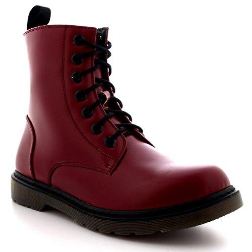 Homme Trapu Vivant Chaussures Rétro Gothiques Bottines De Combat Militaire D'époque - Bœuf Rouge - 43 - Dr0019 HWjVexyco