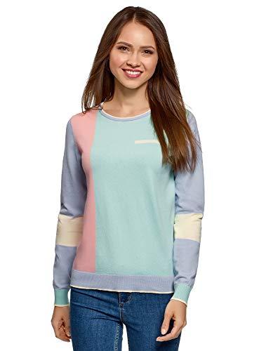 85f4566acd4d oodji Ultra Mujer Jersey Color Block de Algodón, 42 / L