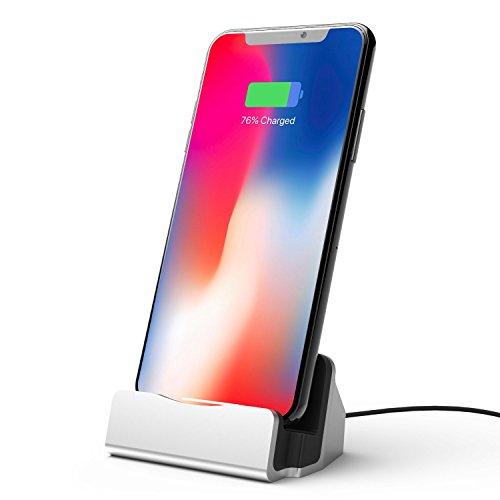 iPhone Base Dock de Carga, ZKAPOR Lightning Base de Cargador Carga Rápida y Cable de Sincronización Base de Carga Soporte para Apple iPhone X/ 8/ 8Plus/ 7/ 7Plus/ 6s/ 6sPlus/ 6/ 6Plus/ SE/ 5s/ 5c/ 5 (Plata)
