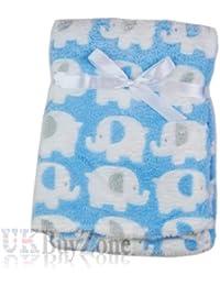 Baby Newborn Fleece Blanket Swaddling Wrap Swaddle Hooded Robe Dressing Gown Girl or Boy, Pink or Blue, 0+ Months Unisex (Baby Blanket Elephants)