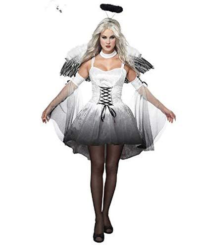 Ghllsal bianco nero diavolo angelo caduto costume donna sexy vestiti di halloween per adulti serata gotica costumi fancy, taglia unica * bianco