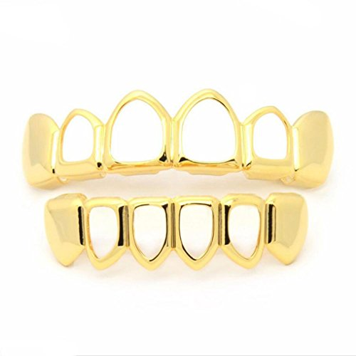 Row Hip Hop Bling Abnehmbare Zähne Fake Teeth Hollow Out Halloween Goldene Hohlzähne Set ()