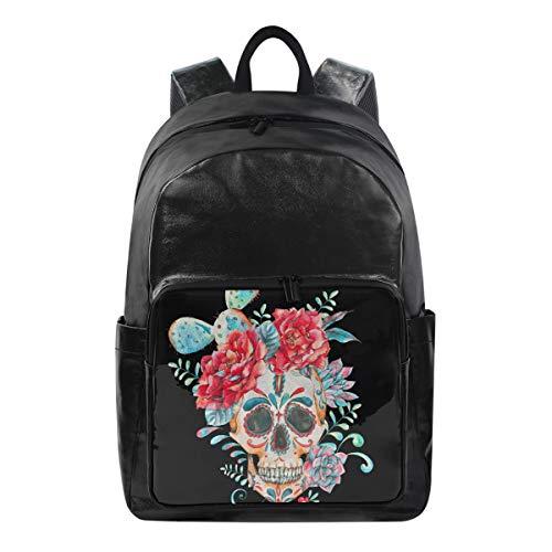 Lustiger Rucksack Kaktusblüten Sugar Skull Gesicht Schultertasche Wandern Camping Daypack Schule Reise Computer Tasche für Kinder Jungen Mädchen Männer Frauen