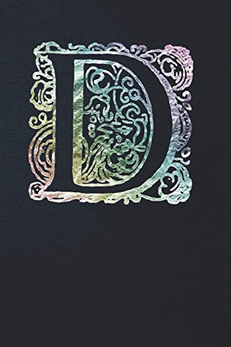Notebook: Art Nouveau Initial D - Multi Color on Black - Lined Diary / Journal Nouveau Monograms