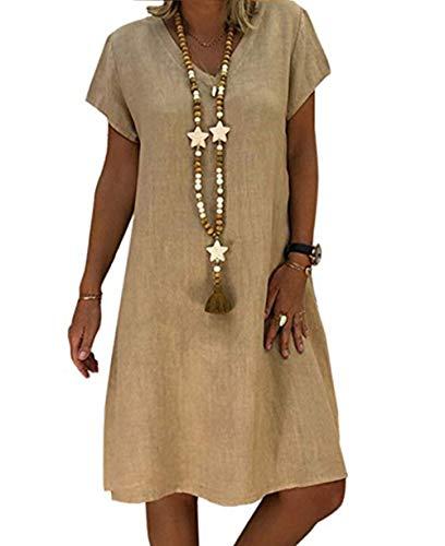 Yutila Damen Leinenkleid für den Sommer V-Ausschnitt Casual Kleid im Boho Look, Khaki, M(EU 38)