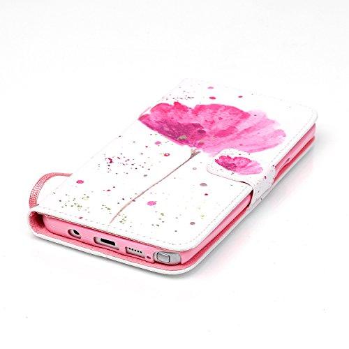 Meet de Samsung Galaxy Note 5 N920i Bookstyle Étui Housse étui coque Case Cover smart flip cuir Case à rabat pour Galaxy Note 5 Coque de protection Portefeuille - this iphone is locked slide to unloke Une fleur rose