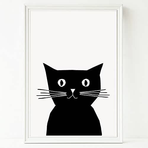 Cat Print Cute Black And White Illustrated Cat Artwork