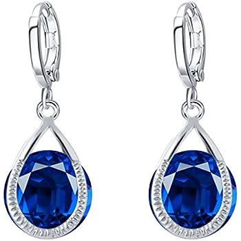144d533c0 Dark Blue Sapphire Navy Tears Water Drop Women Lady Earwear Earrings Hoops  E1142