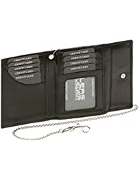 Kreditkarten- und Ausweismappe mit Kette Bikerkartenmappe Bikerausweismappe Trucker LEAS in Echt-Leder, schwarz