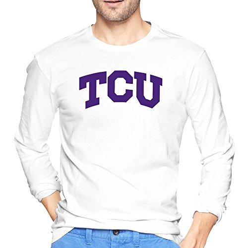Herren Texas TCU gehörnten Frösche Classic Arch Logo T-Shirt Lange Ärmel, Herren, weiß (Texas-flagge Klassische)