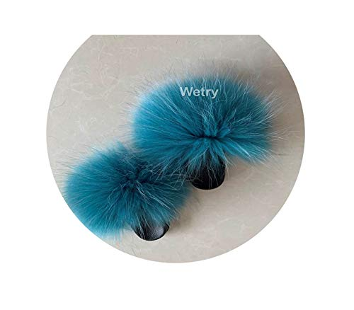 Fjl sandal Faux Fox Fur Slippers Cute Beach Slide Size 36 45 Happy Feet Client Slide,See Pic,9 -