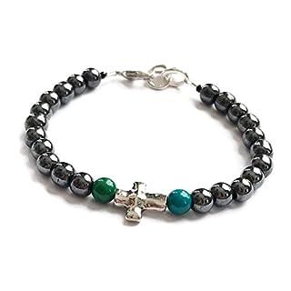 kmj Designs Valley of Life Cross Bracelet - Hematite Stone & Jasper Stone - New life healing and grounding bracelet - Chakra related bracelet (8) (7)