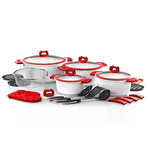 STEEL ESSENTIAL COOKWARE SET, 22 PIECES - ALUMINUM