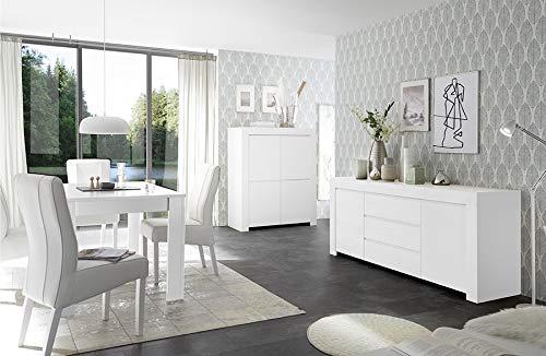 Arredocasagmb.it Mobile Contenitore 2 Ante 3 cassetti Moderno Bianco Opaco  Soggiorno Madia Buffet con sportelli Design Fire 07