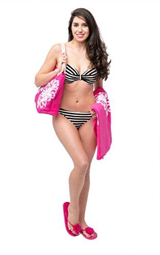 Telo Mare + Borsa da Spiaggia Donna + Infradito 3 Pezzi Impostare Pattern Floreale Airee Fairee Rosa