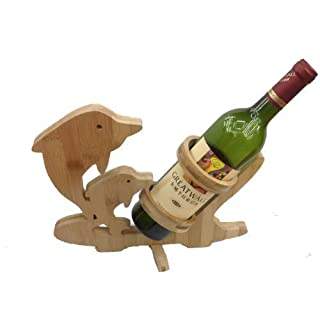GMMH Design Support pour Bouteille de vin vin Bouteille de vin Support Support Bouteille 2Dauphins en Bois Bambou