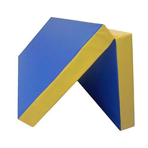 NiroSport Turnmatte 100 x 100 x 8 cm Gymnastikmatte Fitnessmatte Sportmatte Trainingsmatte Weichbodenmatte wasserdicht klappbar (Blau/Gelb)
