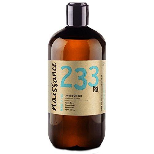 Naissance olio di jojoba d'oro 500ml - puro al 100%, pressato a freddo, vegan, cruelty free, senza ogm, per l'idratazione della pelle e dei capelli